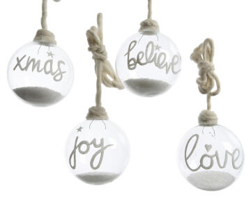 4PC CHRISTMAS BAUBLES WRITTEN CLEAR