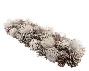 CHRISTMAS TEALIGHT HOLDER CONE WHITE 16X47X9CM