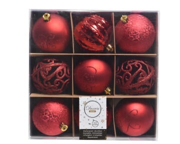 9PC XMAS BAUBLES BOX ASSORTED RED 8DIA