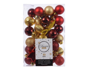 33PC CHRISTMAS BAUBLES TUBE ASSORTED GOLD/RED