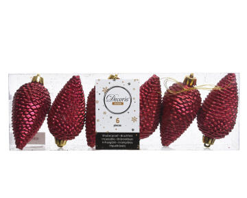 6PC CHRISTMAS PINE CONE IN TRANSPARENT BOX RED 5X8CM