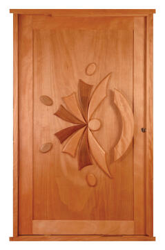 Entry door engineered hard wood sunrise print pivotot left hand