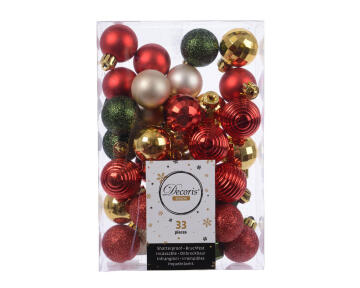 33PC CHRISTMAS BAUBLES ASSORTED RED/GOLD/GREEN