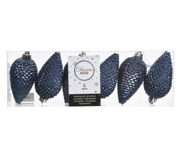 6PC CHRISTMAS PINE CONE TRANSPARENT BOX BLUE 5X8CM