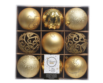 9PC CHRISTMAS BAUBLES BOX ASSORTED BROWN