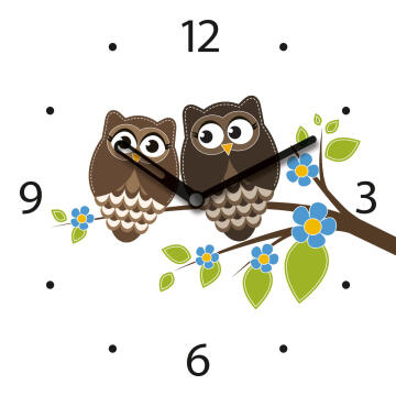 GLASS CLOCK OWL FRIENDSHIP 20X20