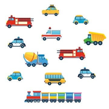 WALL STICKER SMALL COLOURFUL CARS 25X35