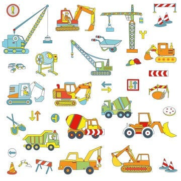 WALL STICKER SMALL ROAD VEHICLES 25X35