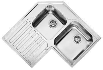 Kitchen sink corner 2square bowls 1drainer FRANKE STRX621 left ss 830cmx830cm