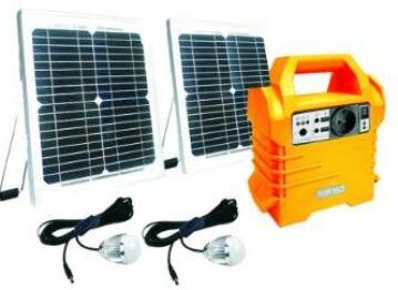 Solar Kit 4x10w panels 2xLED bulbs ECOBOXX with USB charger