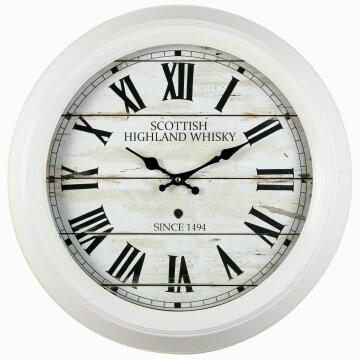 CLOCK SCOTTISH WHITE 47CM