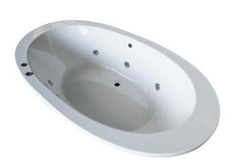 Spa bath oval acrylic CROWIE white 96X180x410-6chr jets
