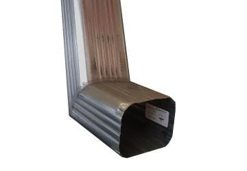 Galvanized Steel Downpipe Square With Shoe Soldered 100mm x 100mm PREMIER
