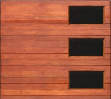 Garage Door Sectional Meranti Wood Horizontal Slats with Glass-Single-w2500xh2170mm