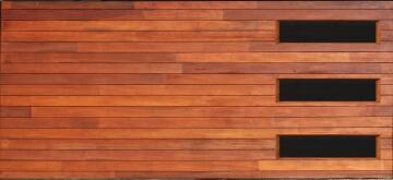 Garage Door Sectional Meranti Wood Horizontal Slats with Glass-Double-w4950xh2170mm