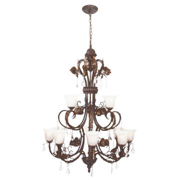 CHANDELIER CH5035/8+4 BROWN/GOLD