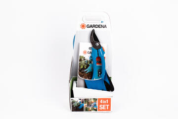 GARDENA SET 4 IN 1 SECATEUR GLOVE TROWEL