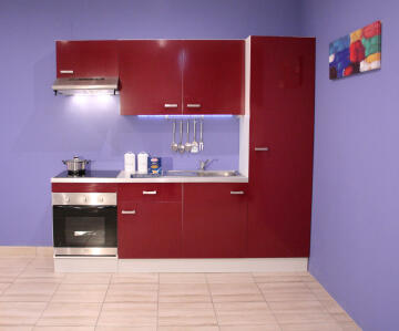 Kitchen Onebox incl:Defy S/line hood,Oven,ceramic Hob,sink,tap&worktop red 240cm