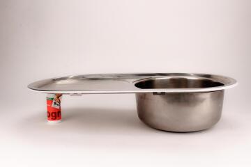 Kitchen sink 1rnd bowl 1d oval d/i CAM ss 860cmx440cm SEB incl 90mm DC 8644 / L