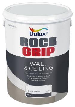 INTERIOR/EXTERIOR PAINT ROCKGRIP WALL & CEILING FLEECE WHT 5L
