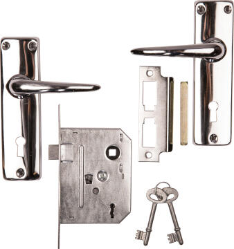 Lock set chrome2 lever lock and handle set