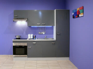 Kitchen Onebox incl:Defy S/line hood,Oven,ceramic Hob,sink,tap&worktop grey 240cm