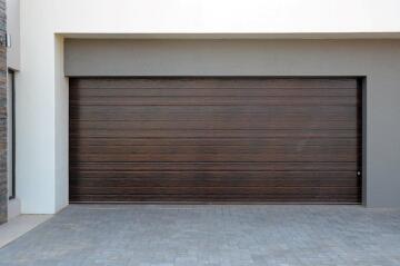 Garage Door Sectional Steel Insulated Stripe Dark Oak Textured-Double-w4880xh2140mm