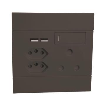 Socket 1x3pin - 2x2pin - 2xUSB VETI 2 black
