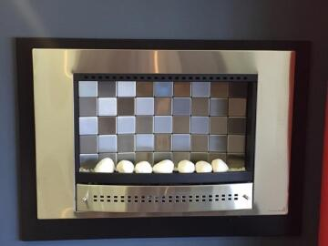 Gas fireplace CHAD O CHEF tile back