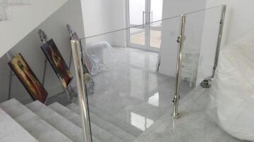 Balustrade Stanchion Stainless Steel Glass Oval Level Topmount Welded Flange-Continous for Glass from 6 up to 8.38mm thick-51x21mm