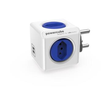 MULTIPLUG POWERCUBE 3X2PIN 2XUSB BLUE