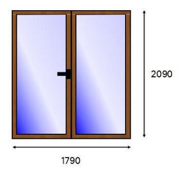PATIO DOOR PVC WOOD FULL SG L 1821