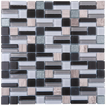 Mosaic Glass & Stone Grey Mix 300X300