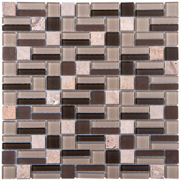 Mosaic Glass & Stone Beige Mix 300X300