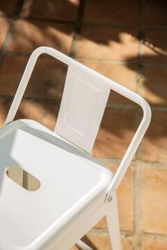 SOHO WHITE STOOL 66CM HIGH W/ BACKREST