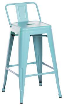 SOHO BLUE STOOL 66CM HIGH W/ BACKREST
