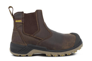 Safety Boot REBEL Chelsea Crazy Horse Brown Size 12