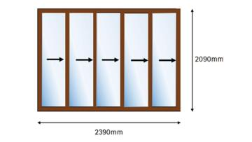 Foldable Door Aluminium 5 Panel Bronze-Right Hand Opening-Open out-w3590xh2090mm