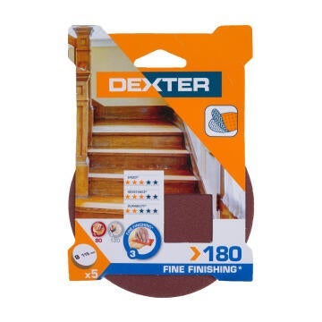 HOLE SAND DISC WOOD G180 DEXTER 5PC D115