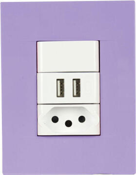 SOCKET 1X2PIN+2XUSB 2X4 CHORUS PURPLE