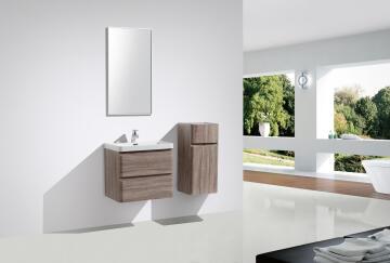 Milan cabinet double drawer silver oak 600
