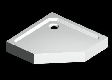 Shower tray acrylic pentagon waste 90X90X15cm