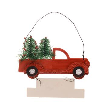 CHRISTMAS PL CAR TREE RED 13X8.5X2.5CM