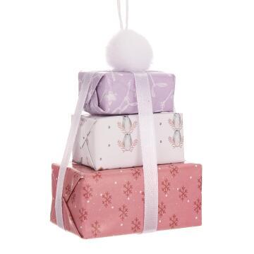 CHRISTMAS BOX PINK/PURP 10CM
