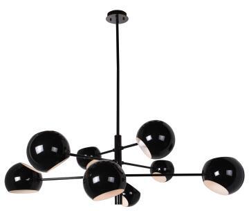 8XE27 ART DECO METAL BALL PENDANT BLACK