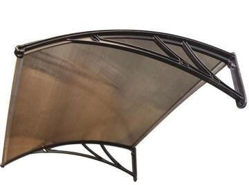 Awning Polycarbonate Multiwall Bronze-with Black PVC Brackets-w1500xd1000mm