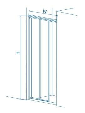 Shower corner entry pivot square glass chrome trislider panel 885CM-915CMx185CM