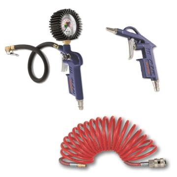 Air tool kit DEXTER with blowing gun + inflating gun + spiral hose with rapid coupler 3m