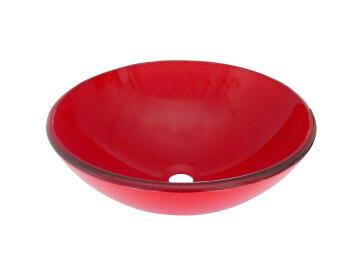 Sit on basin glass LUNA red 39,5CM