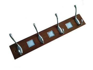 WOOD COAT HANGER SQUARE 4 STEEL HOOKS